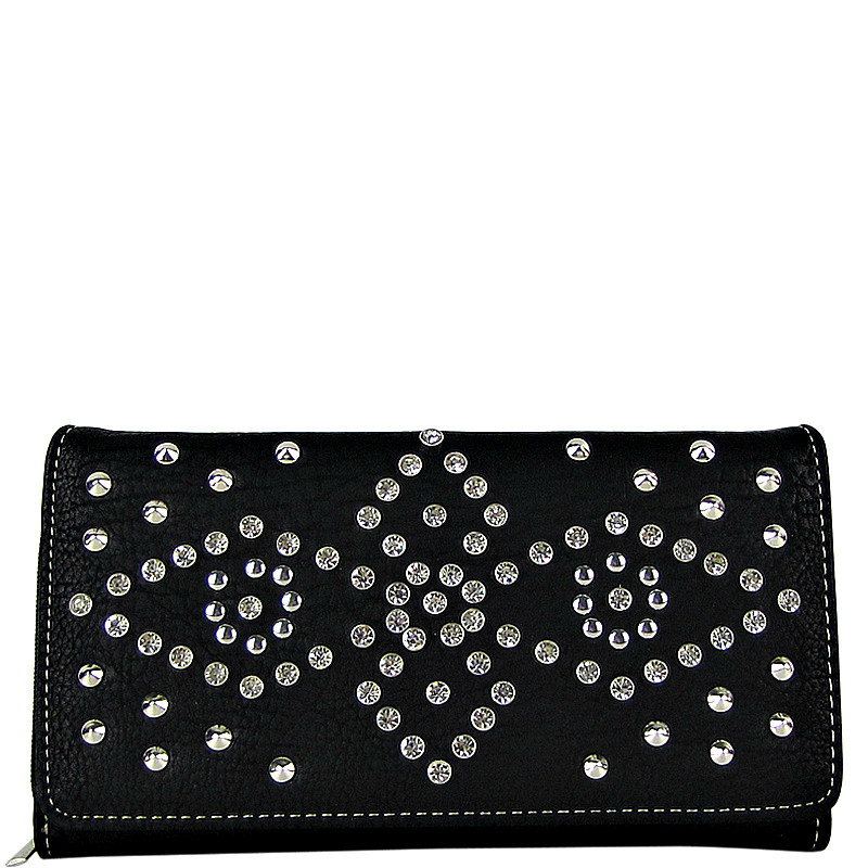 BLACK RHINESTONE STUDDED LEATHERETTE LOOK CHECKBOOK WALLET CB1-1272BLK