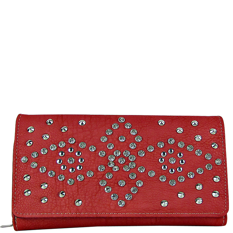 PINK RHINESTONE STUDDED LEATHERETTE LOOK CHECKBOOK WALLET CB1-1272PNK