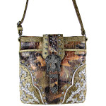 BEIGE MOSSY CAMO OSTRICH STUDDED RHINESTONE CROSS BUCKLE LOOK MESSENGER BAG MB1-HC0070BEI