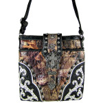 BLACK MOSSY CAMO OSTRICH STUDDED RHINESTONE CROSS BUCKLE LOOK MESSENGER BAG MB1-HC0070BLK