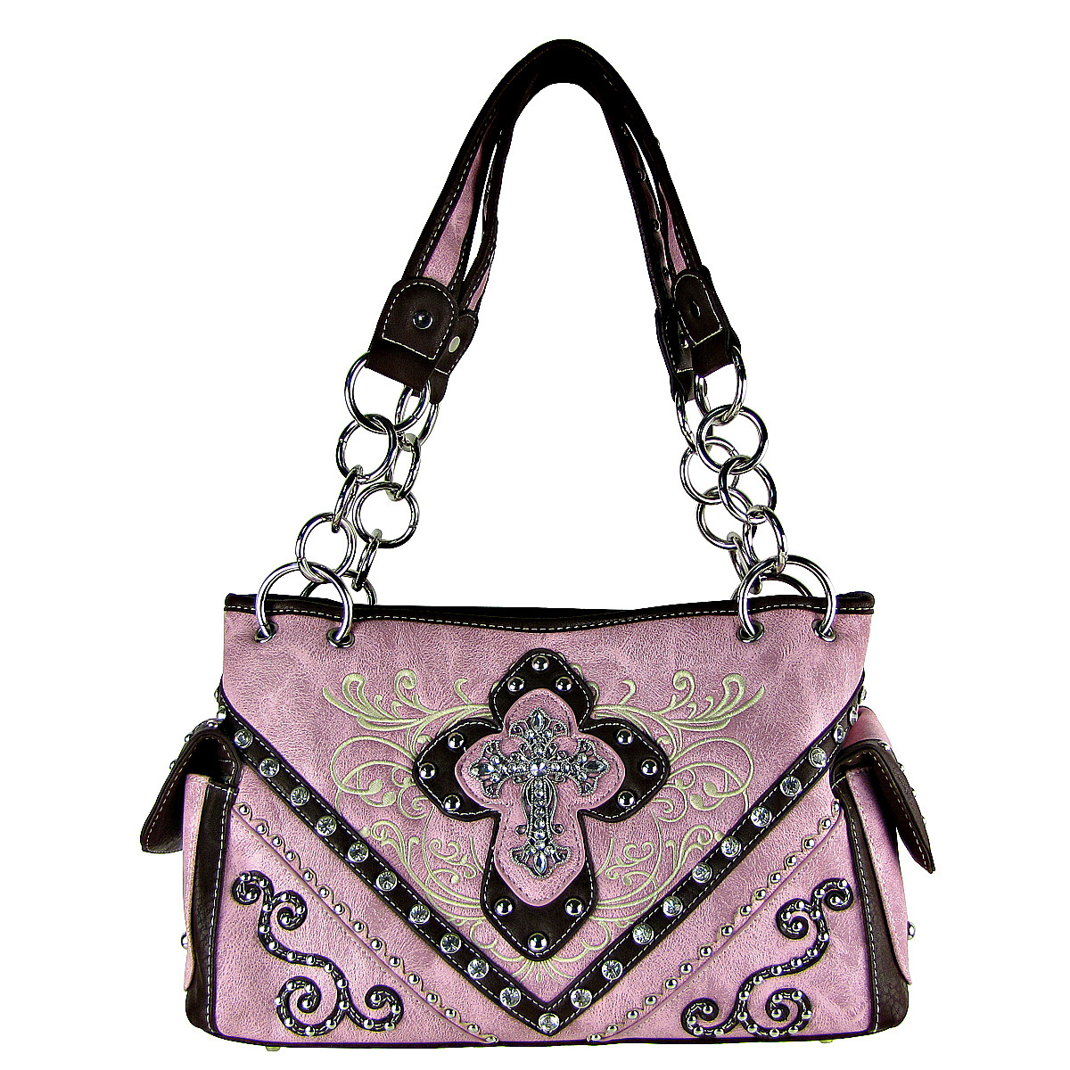 PINK WESTERN STITCH CROSS CONCEALED CARRY LOOK SHOULDER HANDBAG HB1-CHF0031PNK