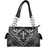 BLACK WESTERN STITCH CROSS CONCEALED CARRY LOOK SHOULDER HANDBAG HB1-CHF0031BLK