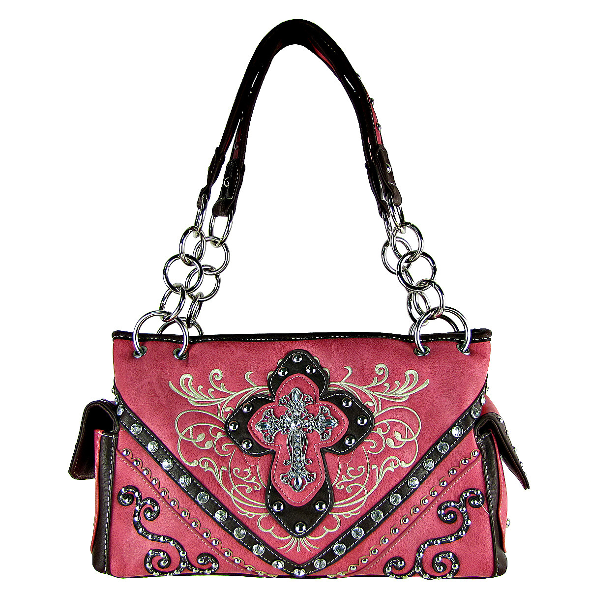 HOT PINK WESTERN STITCH CROSS CONCEALED CARRY LOOK SHOULDER HANDBAG HB1-CHF0031HPK