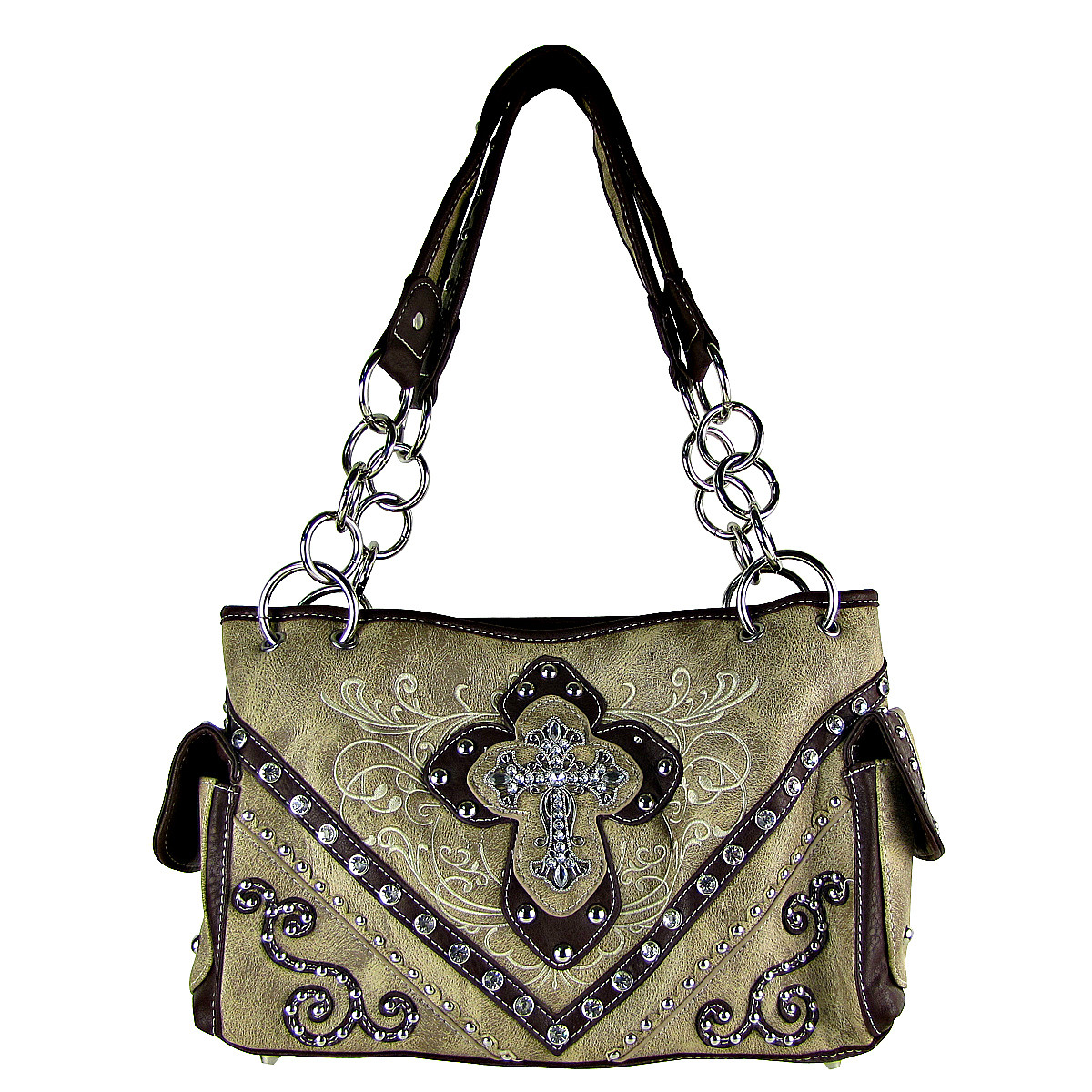 BEIGE WESTERN STITCH CROSS CONCEALED CARRY LOOK SHOULDER HANDBAG HB1-CHF0031BEI