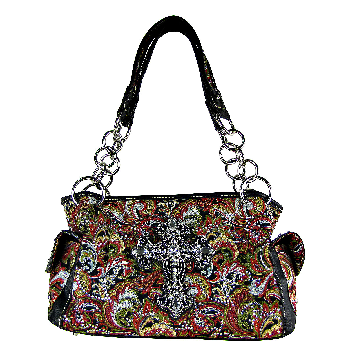 RED RHINESTONE PAISLEY CROSS CONCEALED CARRY LOOK SHOULDER HANDBAG HB1-CHF0027RED
