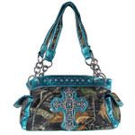 AQUA RHINESTONE MOSSY CAMO LOOK CROSS SHOULDER HANDBAG HB1-C-321-2AQU
