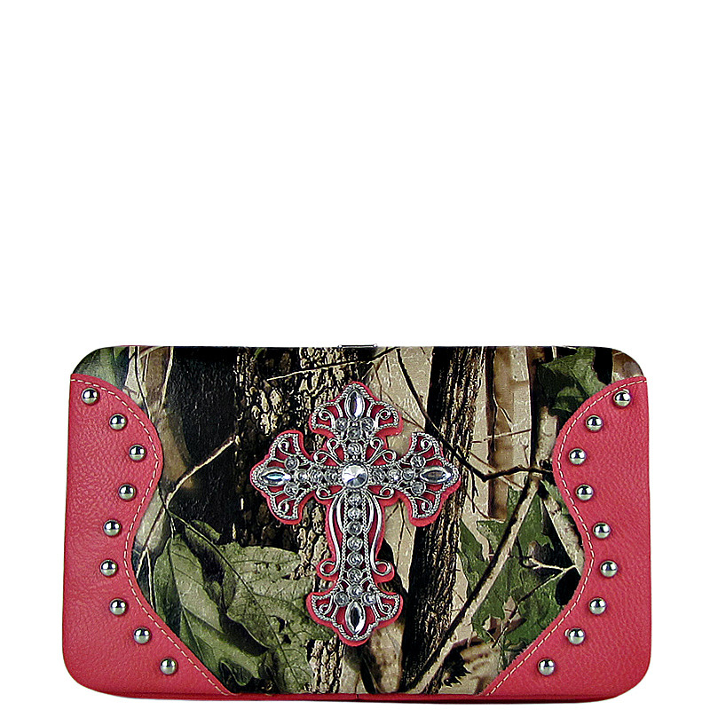 HOT PINK MOSSY CAMO CROSS LOOK FLAT THICK WALLET FW2-0483HPK