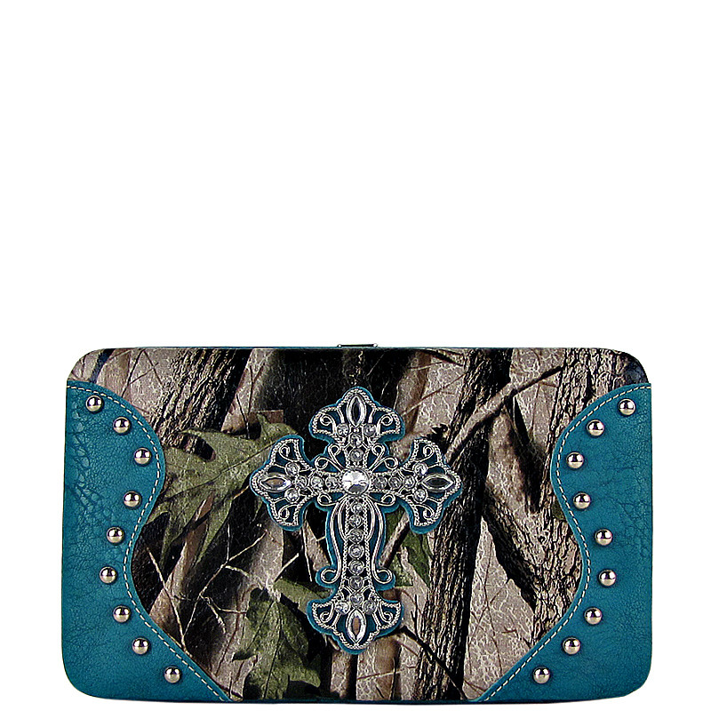 TURQUOISE MOSSY CAMO CROSS LOOK FLAT THICK WALLET FW2-0483TRQ