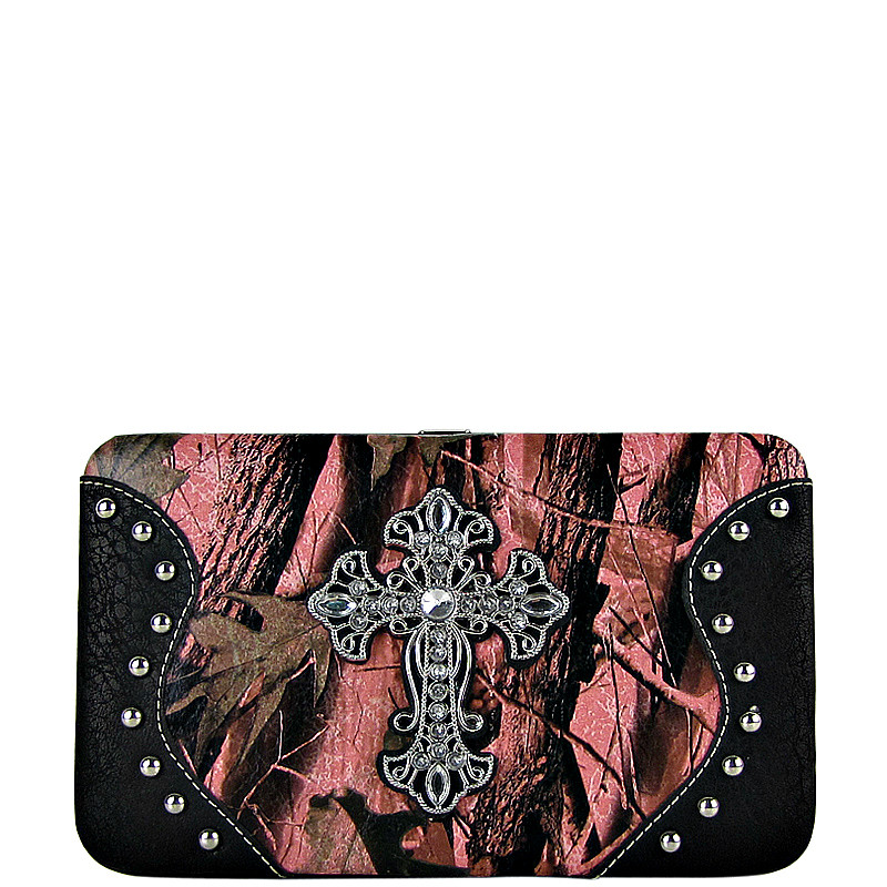 BLACK MOSSY CAMO CROSS LOOK FLAT THICK WALLET FW2-0483BLK