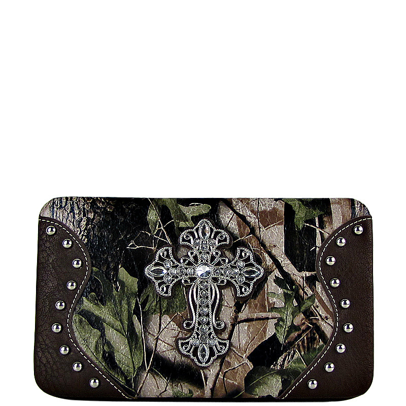BROWN MOSSY CAMO CROSS LOOK FLAT THICK WALLET FW2-0483BRN