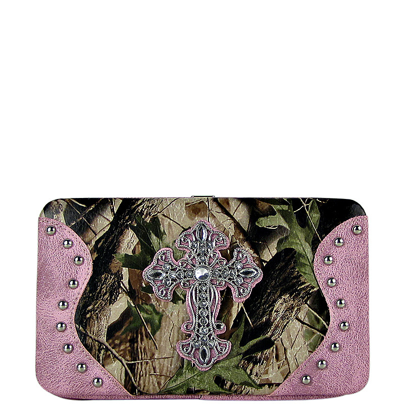 PINK MOSSY CAMO CROSS LOOK FLAT THICK WALLET FW2-0483PNK