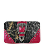 HOT PINK MOSSY CAMO BUCKLE LOOK FLAT THICK WALLET FW2-1220HPK