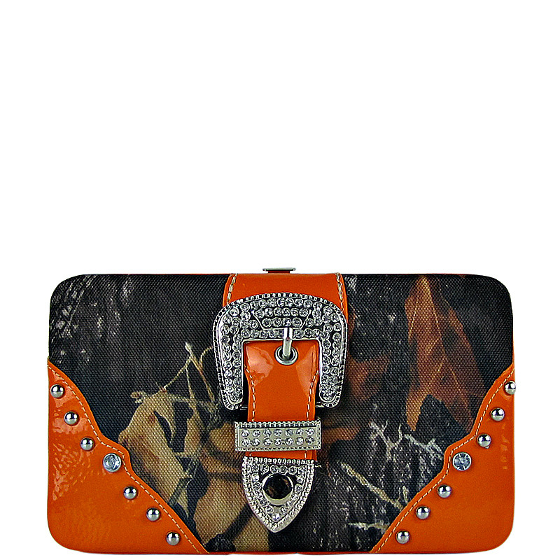 ORANGE MOSSY CAMO BUCKLE LOOK FLAT THICK WALLET FW2-1220ORG