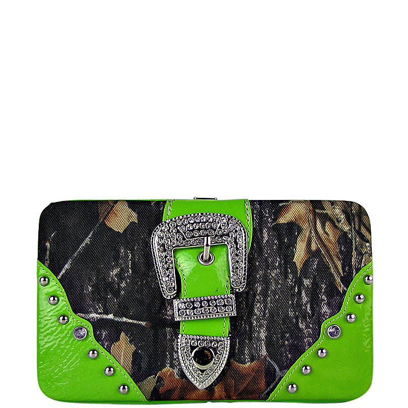 GREEN MOSSY CAMO BUCKLE LOOK FLAT THICK WALLET FW2-1220GRN