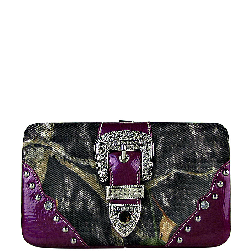 PURPLE MOSSY CAMO BUCKLE LOOK FLAT THICK WALLET FW2-1220PPL