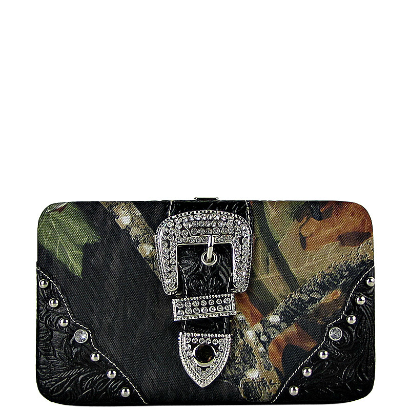 BLACK TOOLED MOSSY CAMO BUCKLE LOOK FLAT THICK WALLET FW2-1220BLK