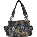 BLACK MULTI MOSSY CROSSES SHOULDER HANDBAG HB1-1806BLK