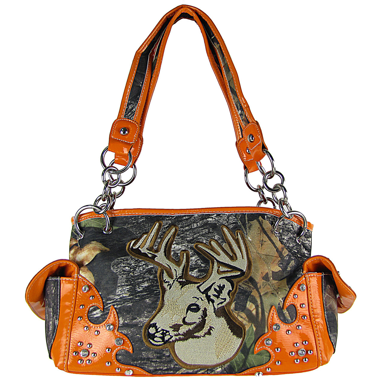 ORANGE MOSSY CAMO DEER SHOULDER HANDBAG HB1-CA6625ORG