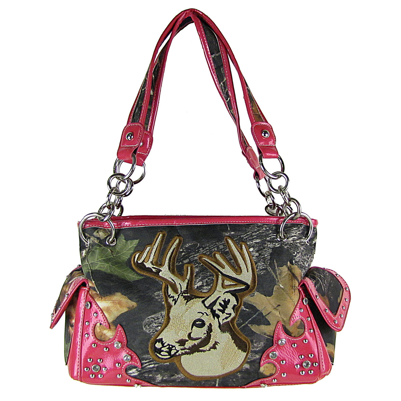 HOT PINK MOSSY CAMO DEER SHOULDER HANDBAG HB1-CA6625HPK