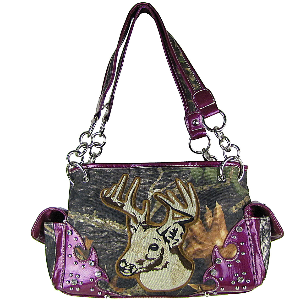 PURPLE MOSSY CAMO DEER SHOULDER HANDBAG HB1-CA6625PPL