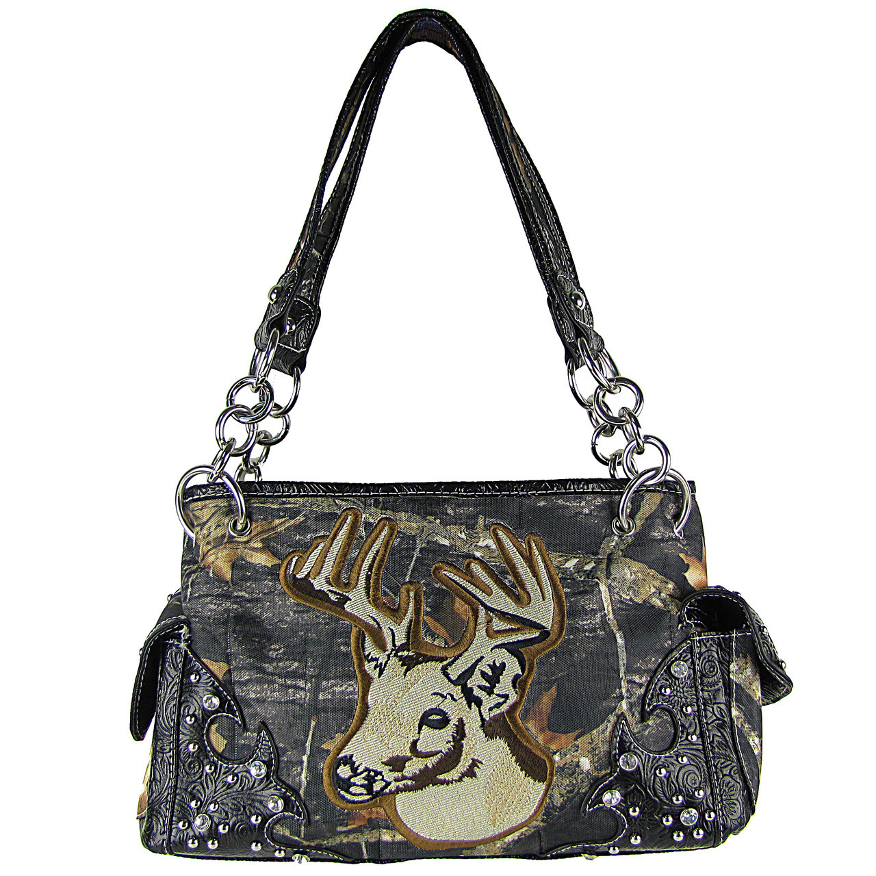 BLACK MOSSY CAMO DEER SHOULDER HANDBAG HB1-CA6625BLK