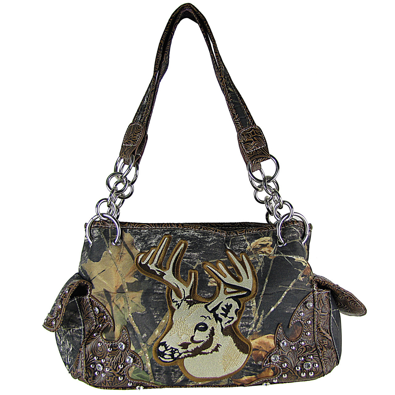 BROWN MOSSY CAMO DEER SHOULDER HANDBAG HB1-CA6625BRN