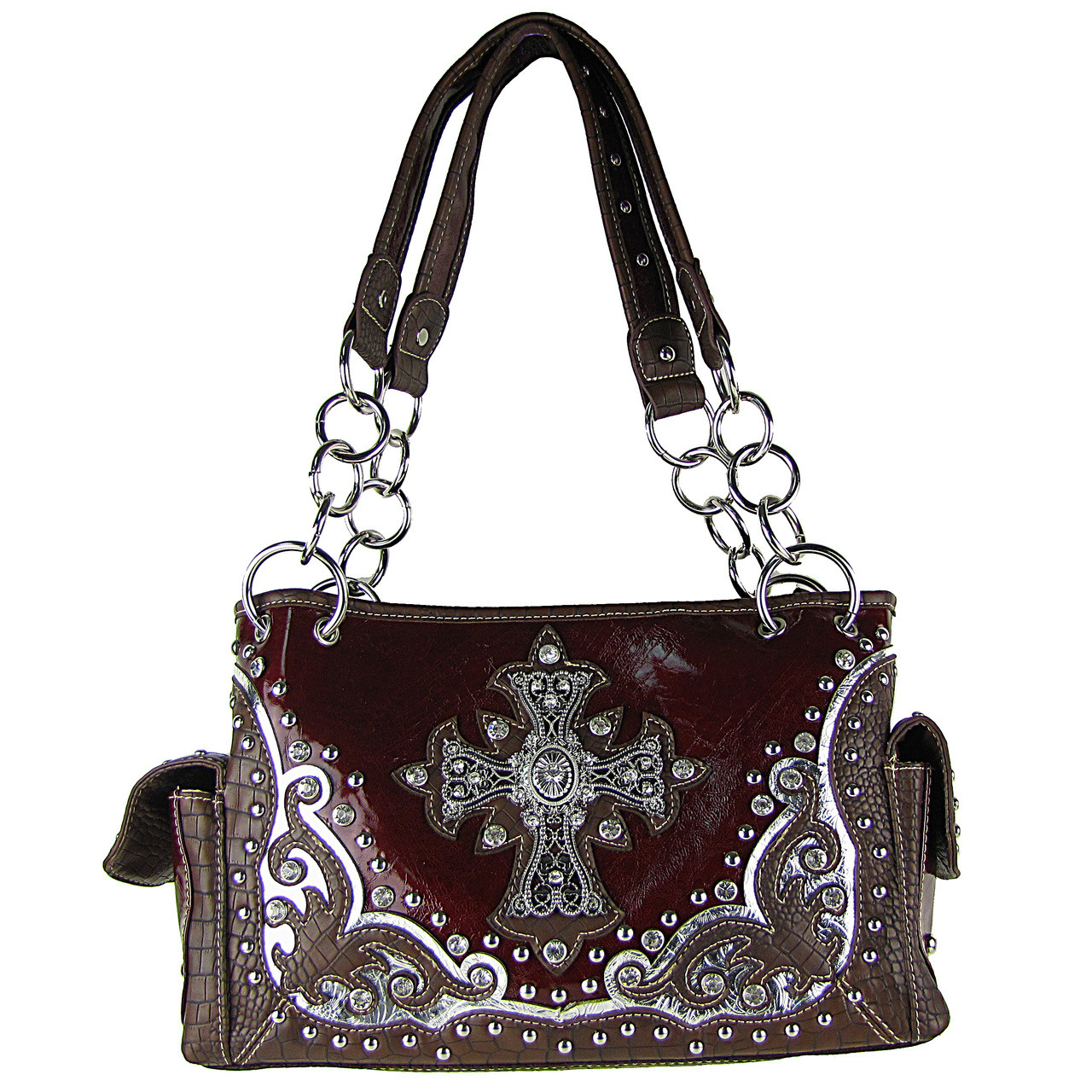 RED WESTERN STUDDED RHINESTONE CROSS SHOULDER HANDBAG HB1-CHF0032RED