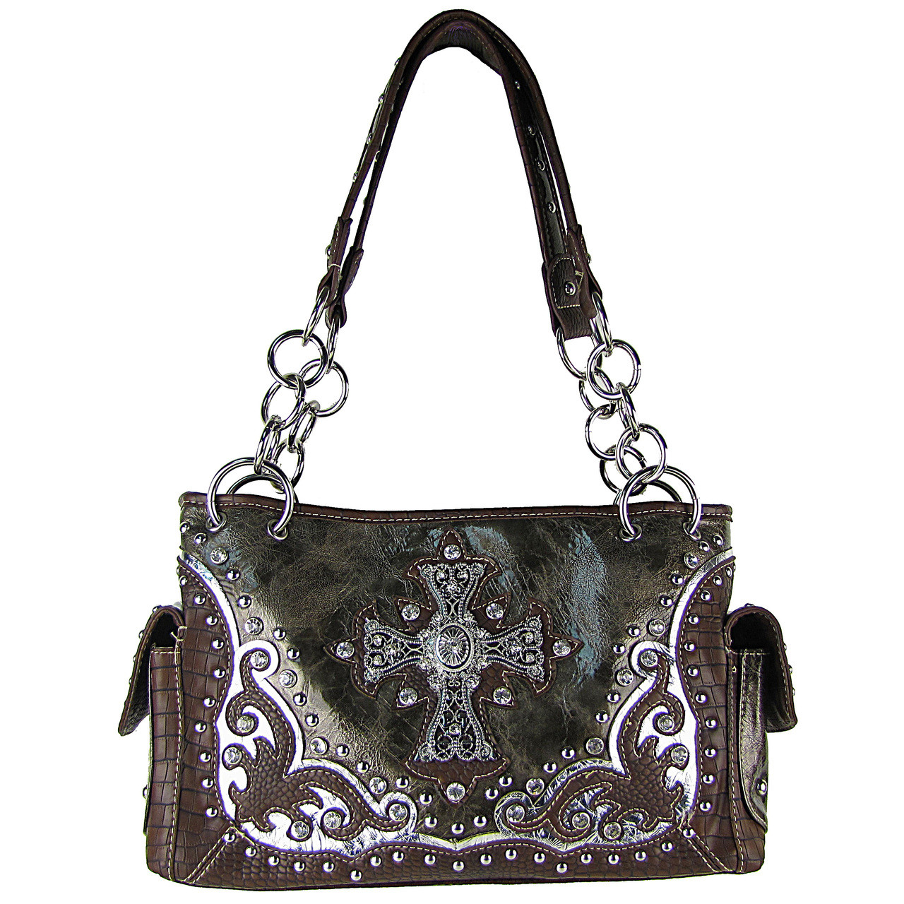 GRAY WESTERN STUDDED RHINESTONE CROSS SHOULDER HANDBAG HB1-CHF0032GRY