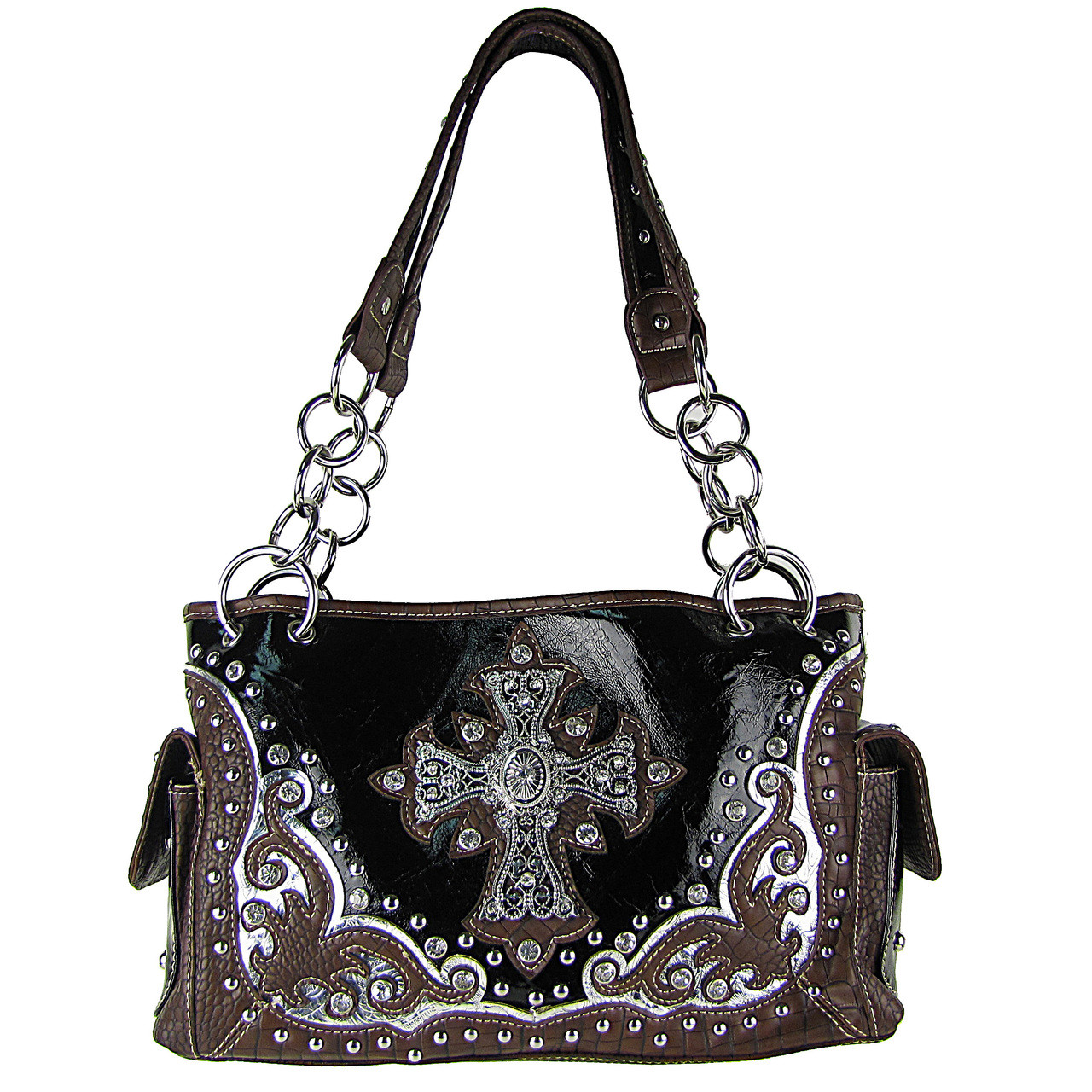 BLACK WESTERN STUDDED RHINESTONE CROSS SHOULDER HANDBAG HB1-CHF0032BLK