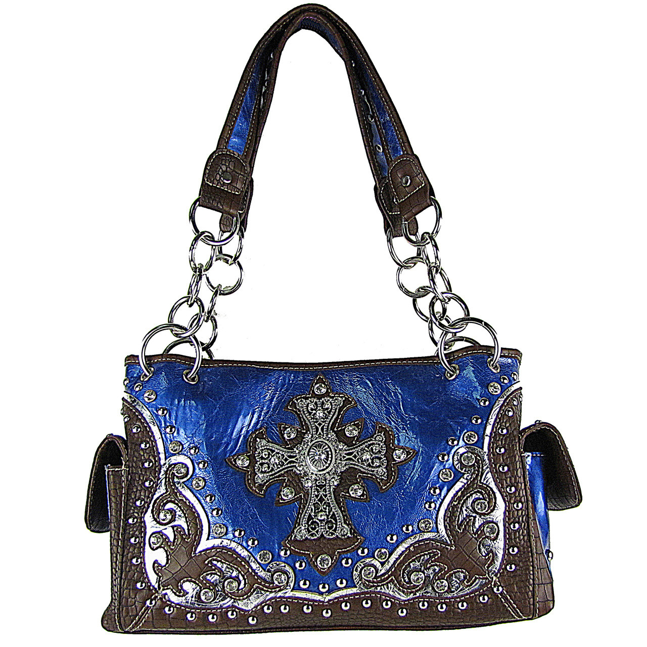 BLUE WESTERN STUDDED RHINESTONE CROSS SHOULDER HANDBAG HB1-CHF0032BLU