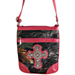 HOT PINK CROSS MOSSY LOOK MESSENGER BAG MB1-10100HPK