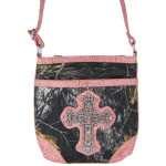 PINK CROSS MOSSY LOOK MESSENGER BAG MB1-10100PNK