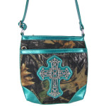 AQUA CROSS MOSSY LOOK MESSENGER BAG MB1-10100AQU