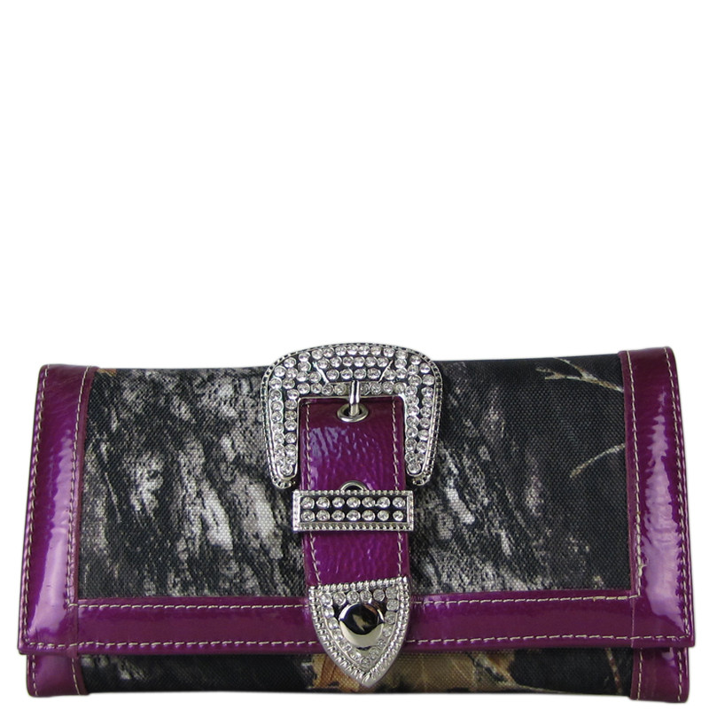 PURPLE MOSSY CAMO RHINESTONE BUCKLE LOOK CHECKBOOK WALLET CB1-1201PPL