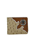 BEIGE OSTRICH TOOLED CROSS MENS WALLET MW1-0421BEI