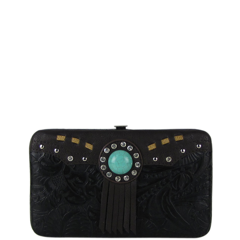 BLACK WESTERN TOOLED TASSEL LOOK FLAT THICK WALLET FW2-1261BLK
