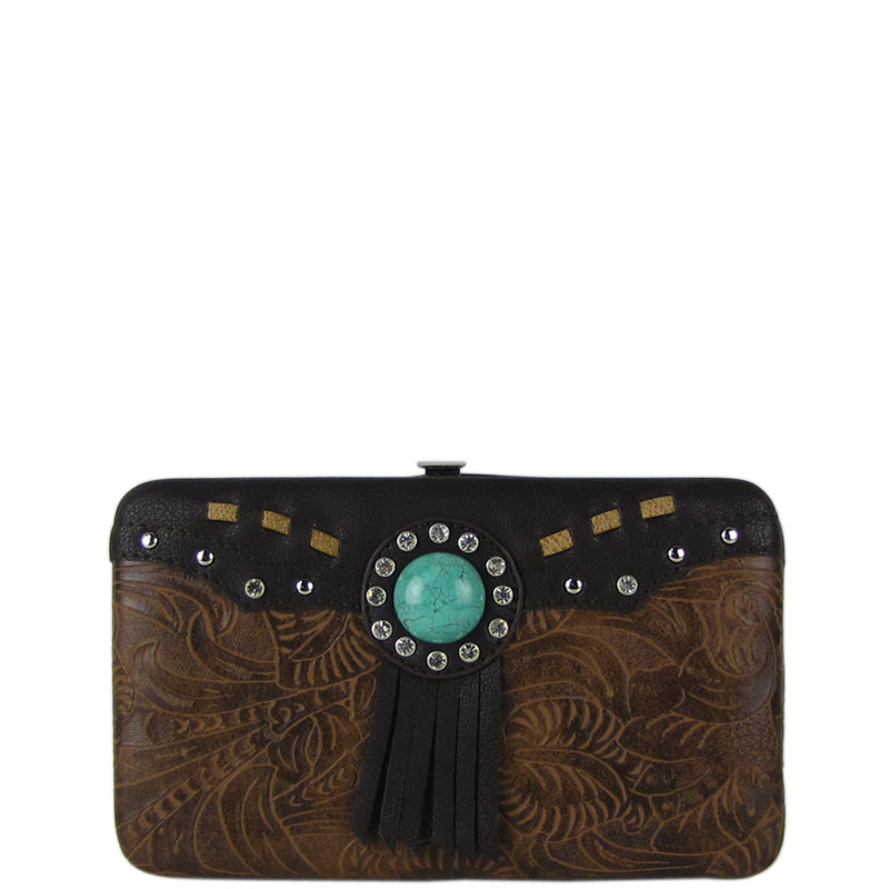 BROWN WESTERN TOOLED TASSEL LOOK FLAT THICK WALLET FW2-1261BRN