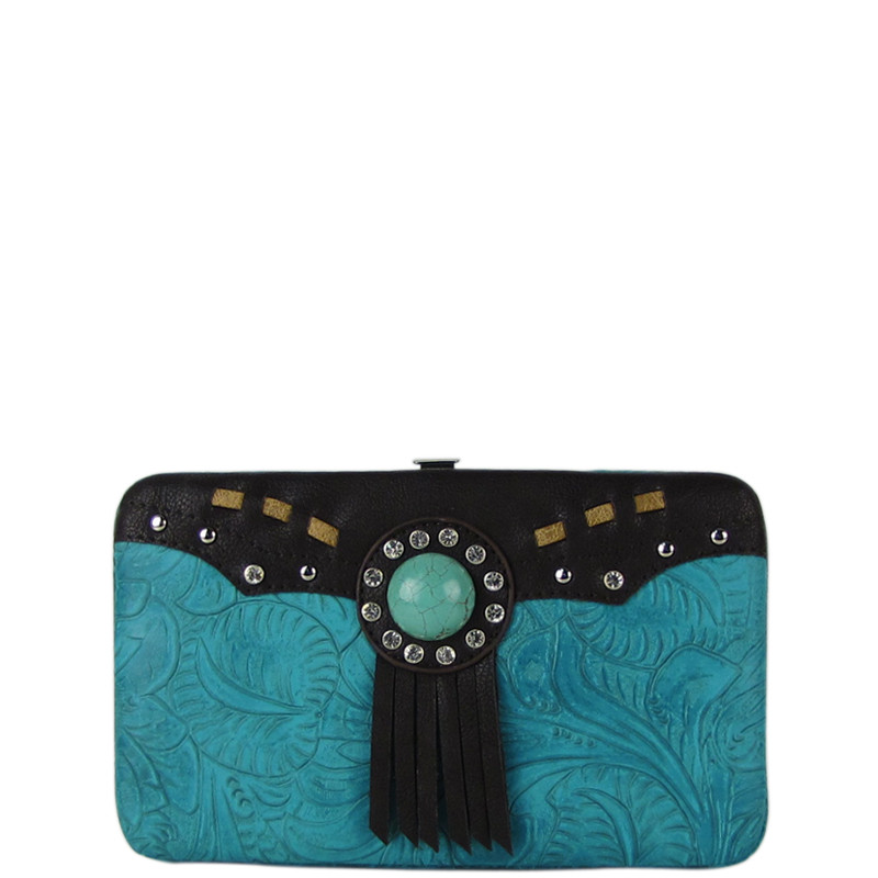 TURQUOISE WESTERN TOOLED TASSEL LOOK FLAT THICK WALLET FW2-1261TRQ
