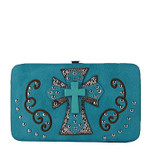 TURQUOISE WESTERN TURQUOISE CROSS FLAT THICK WALLET FW2-0474TRQ