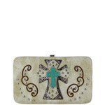 BEIGE WESTERN TURQUOISE CROSS FLAT THICK WALLET FW2-0474BEI