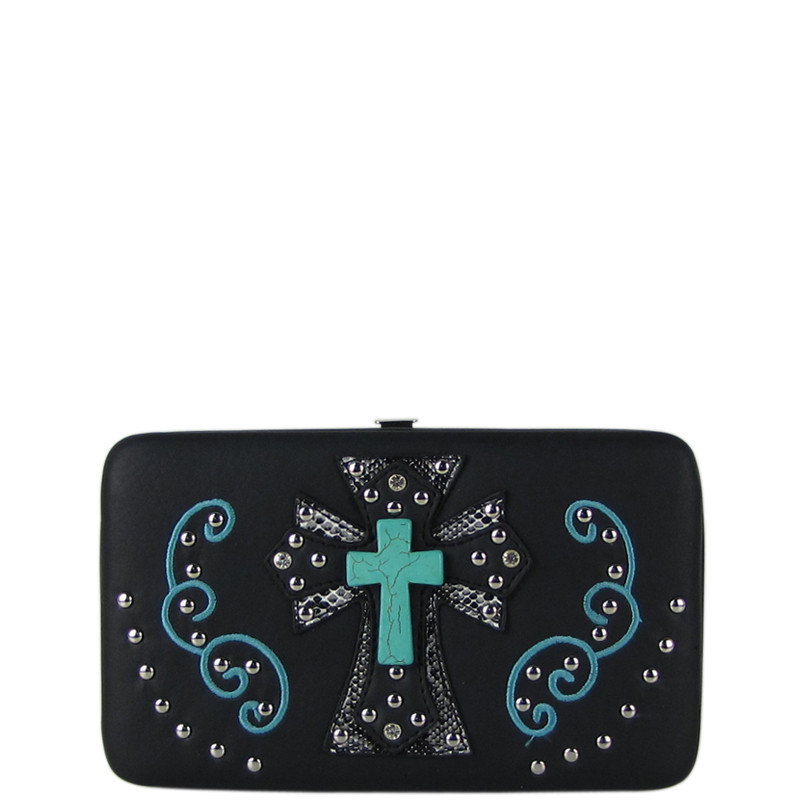 BLACK WESTERN TURQUOISE CROSS FLAT THICK WALLET FW2-0474BLK