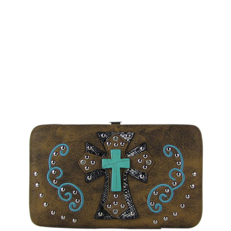 BROWN WESTERN TURQUOISE CROSS FLAT THICK WALLET FW2-0474BRN