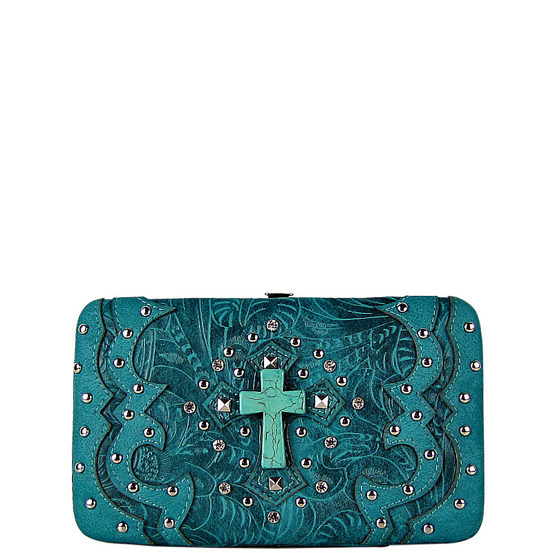 TURQUOISE WESTERN TOOLED STUDDED TURQUOISE CROSS FLAT THICK WALLET FW2-0418TRQ