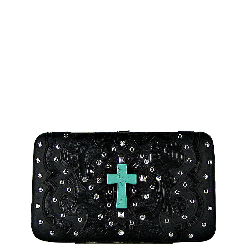 BLACK WESTERN TOOLED STUDDED TURQUOISE CROSS FLAT THICK WALLET FW2-0418BLK