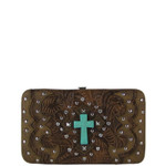 BROWN WESTERN TOOLED STUDDED TURQUOISE CROSS FLAT THICK WALLET FW2-0418BRN