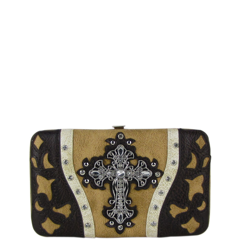 TAN WESTERN LASER CUT CROSS DESIGN FLAT THICK WALLET FW2-0401TAN