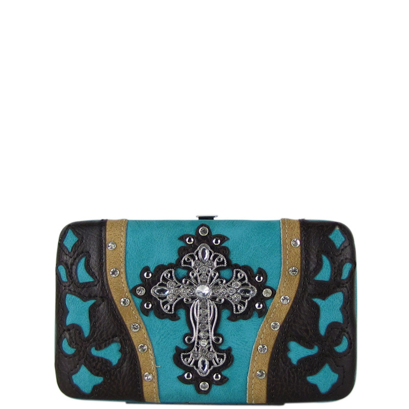 TURQUOISE WESTERN LASER CUT CROSS DESIGN FLAT THICK WALLET FW2-0401TRQ