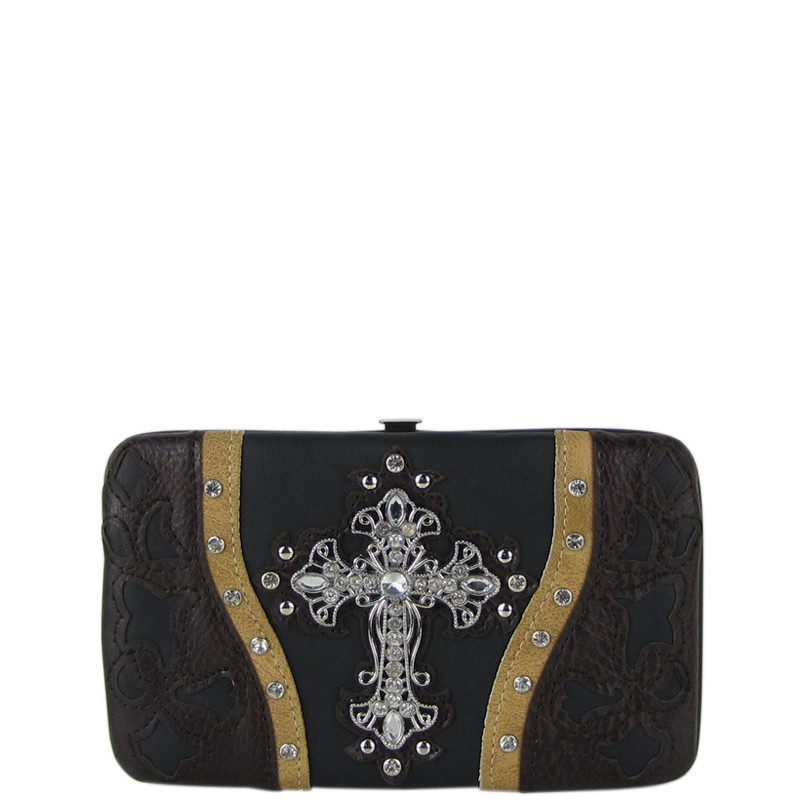 BLACK WESTERN LASER CUT CROSS DESIGN FLAT THICK WALLET FW2-0401BLK