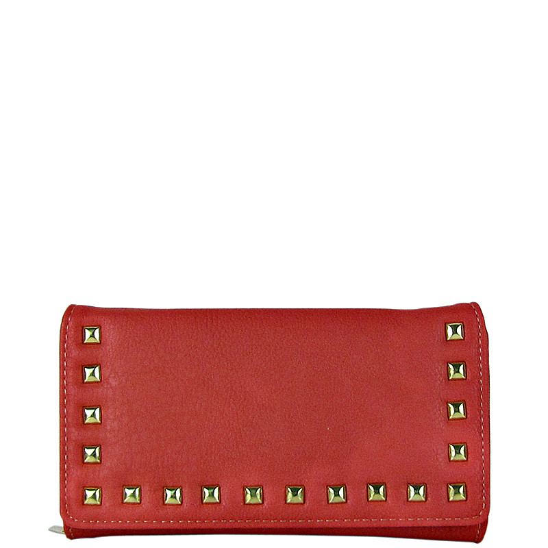 PINK STUDDED LEATHERETTE LOOK CHECKBOOK WALLET CB1-1273PNK