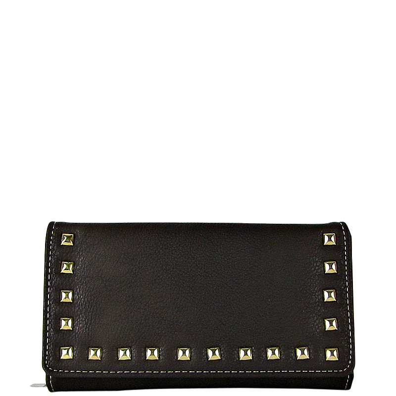 BROWN STUDDED LEATHERETTE LOOK CHECKBOOK WALLET CB1-1273BRN